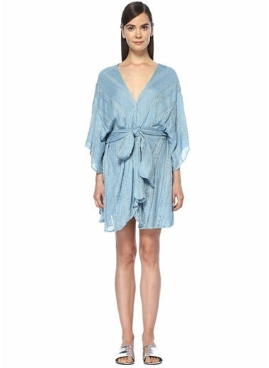 Sundress Pul Payet İşlemeli Örgü Dokulu Elbise Mavi
